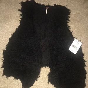 Free People Black Fur Vest